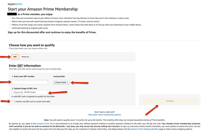 """Amazon EBT Discount Sign up"""